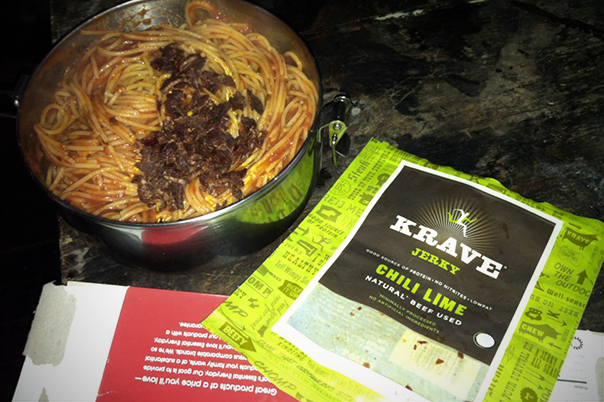Nothing like adding a little jerky to a pot of pasta after a day in the skin track.